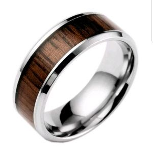 8mm Fashion Men Stainless Steel Wood Silver Inlaid